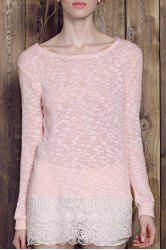 Lace Edge Long Sleeve Long T-Shirt