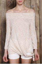 Fashionable Off-The-Shoulder Solid Color Plus Size 3/4 Sleeve T-Shirt For Women