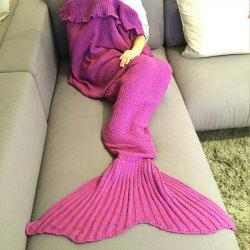 Mode confortable Falbala Decor tricotée Mermaid design Throw Blanket - Rose