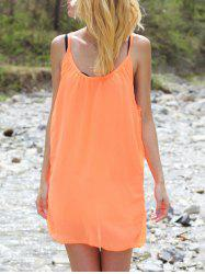 Stylish Strappy Hollow Out Racerback Robe en mousseline de soie pour femme - Tangerine