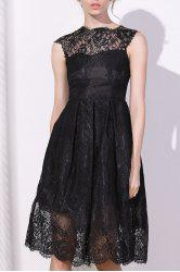 Fashionable Round Collar Cap Sleeve Lace A-Line Dress For Women - BLACK