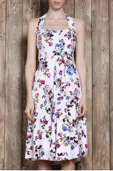 Halter Flower Print Sleeveless Tea Length Vintage Tea Dress