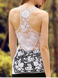 Sheer Lace Racerback Tank Top - WHITE L
