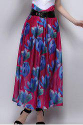 Long Floral A Line Skirt - ROSE