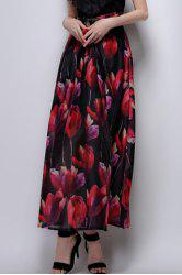Long Floral A Line Skirt - BLACK XL