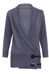Chic Shawl Collar Long Sleeve Button Design Women's Sweater - GRAY