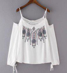 Ethnic Style Spaghetti Strap Cut Out Embroidered Women's Blouse -