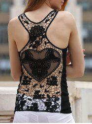 Sexy Solid Color Back Cut Out Lace Spliced Racerback Tank Top For Women - BLACK