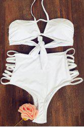 Trendy Cut Out High Rise White Women's Bikini Set