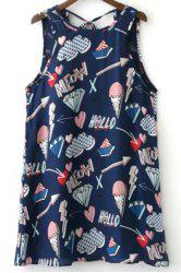 Stylish Round Neck Sleeveless Ice Cream Print Women's Mini Sundress