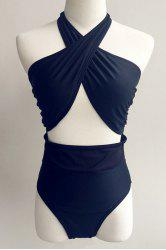 Trendy Halterneck Cross Front Women's One-Piece Swimwear