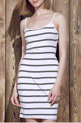 Fashionable Striped Open Back Bodycon Cami Dress For Women