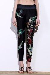 Active Elastic Waist Bird And Skull Print Slimming Women's Pants - BLACK