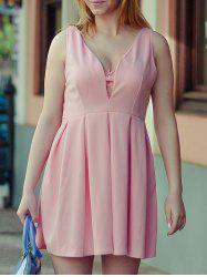Fashion Plunging Neck Sleeveless Solid Color Zippered Women's Dress - PINK