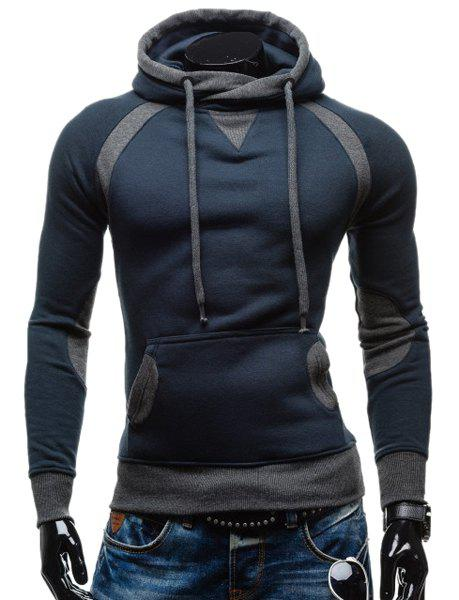 Outfits Simple Double Color Splicing Drawstring Hooded Long Sleeves Hoodie For Men