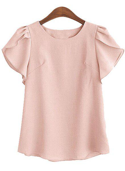 New Charming Round Collar Petal Sleeve Solid Color Loose Blouse For Women