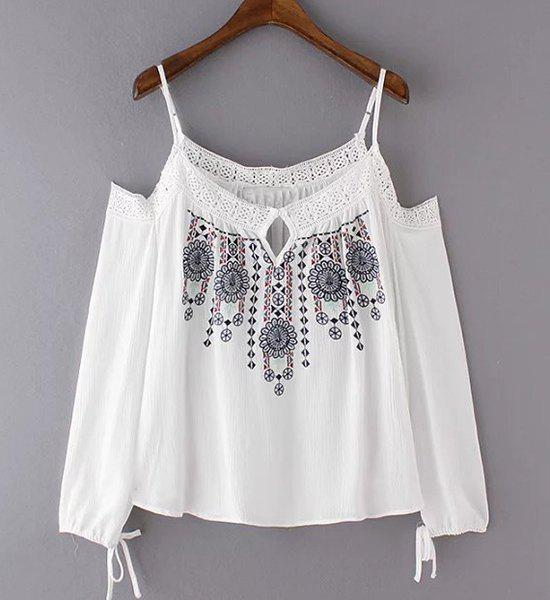 Buy Ethnic Style Spaghetti Strap Cut Out Embroidered Women's Blouse