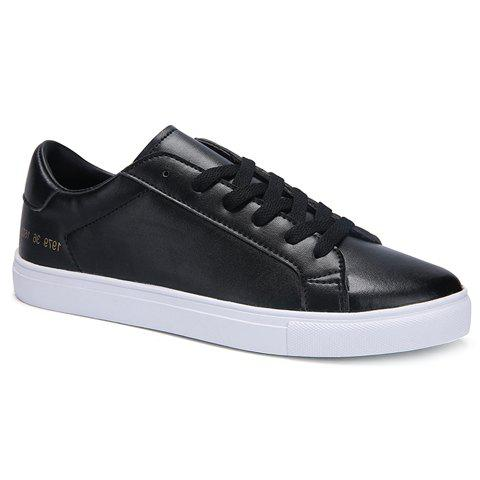 Discount Simple Lace-Up and Figure Print Design Casual Shoes For Men