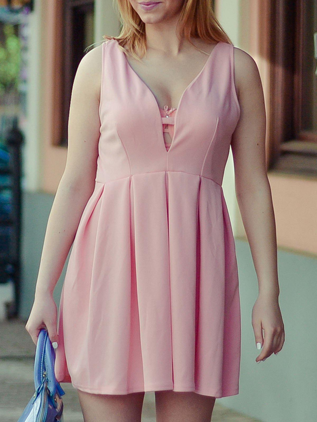 Outfit Fashion Plunging Neck Sleeveless Solid Color Zippered Women's Dress