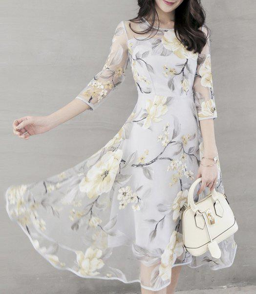 48cc3adc5493a4 46% OFF] Chic Women's Voile Spliced 3/4 Sleeve Jewel Neck Flower ...