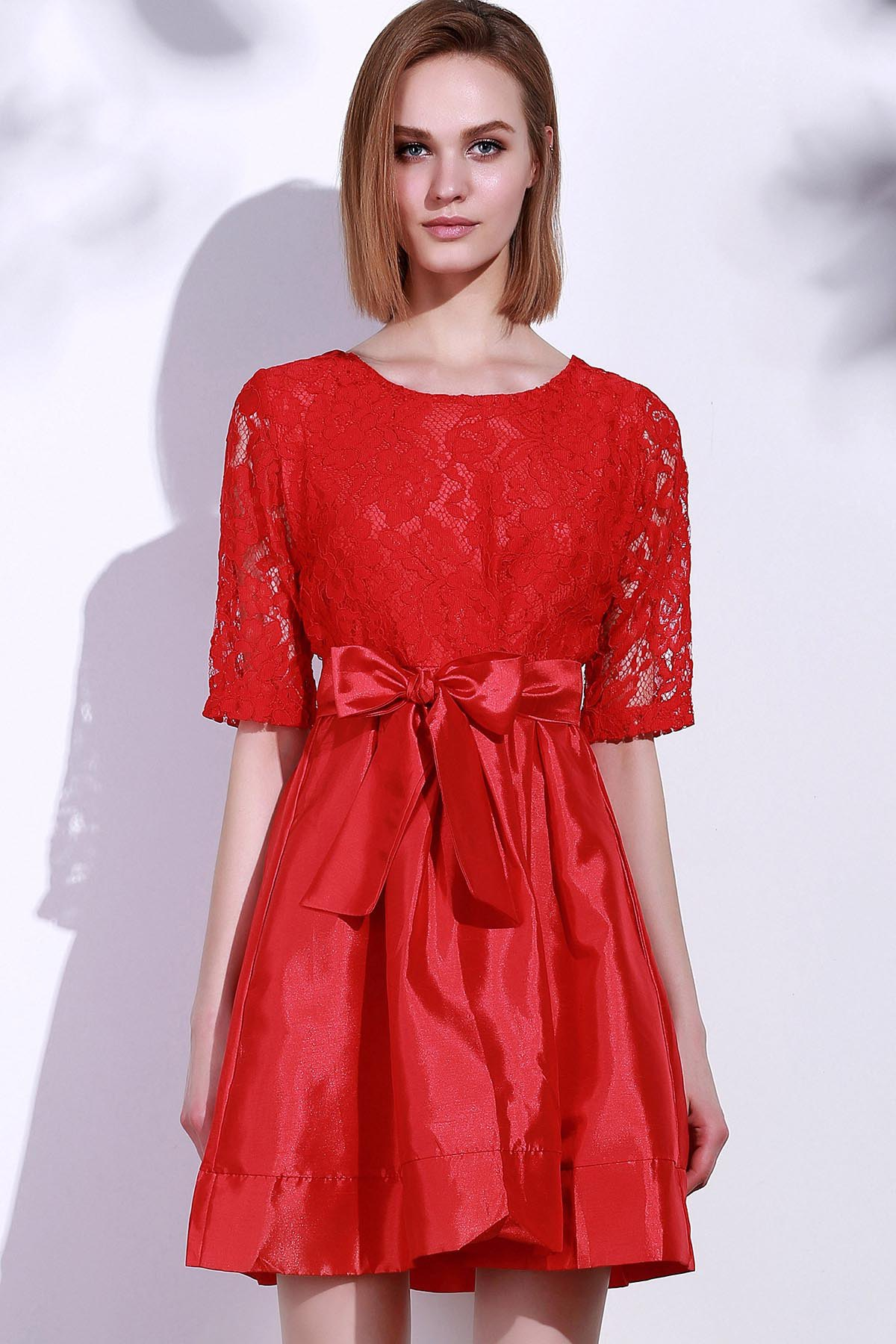 79c4e1720b Affordable Elegant Round Neck Half Sleeve Hollow Out Bowknot Embellished Women's  Dress