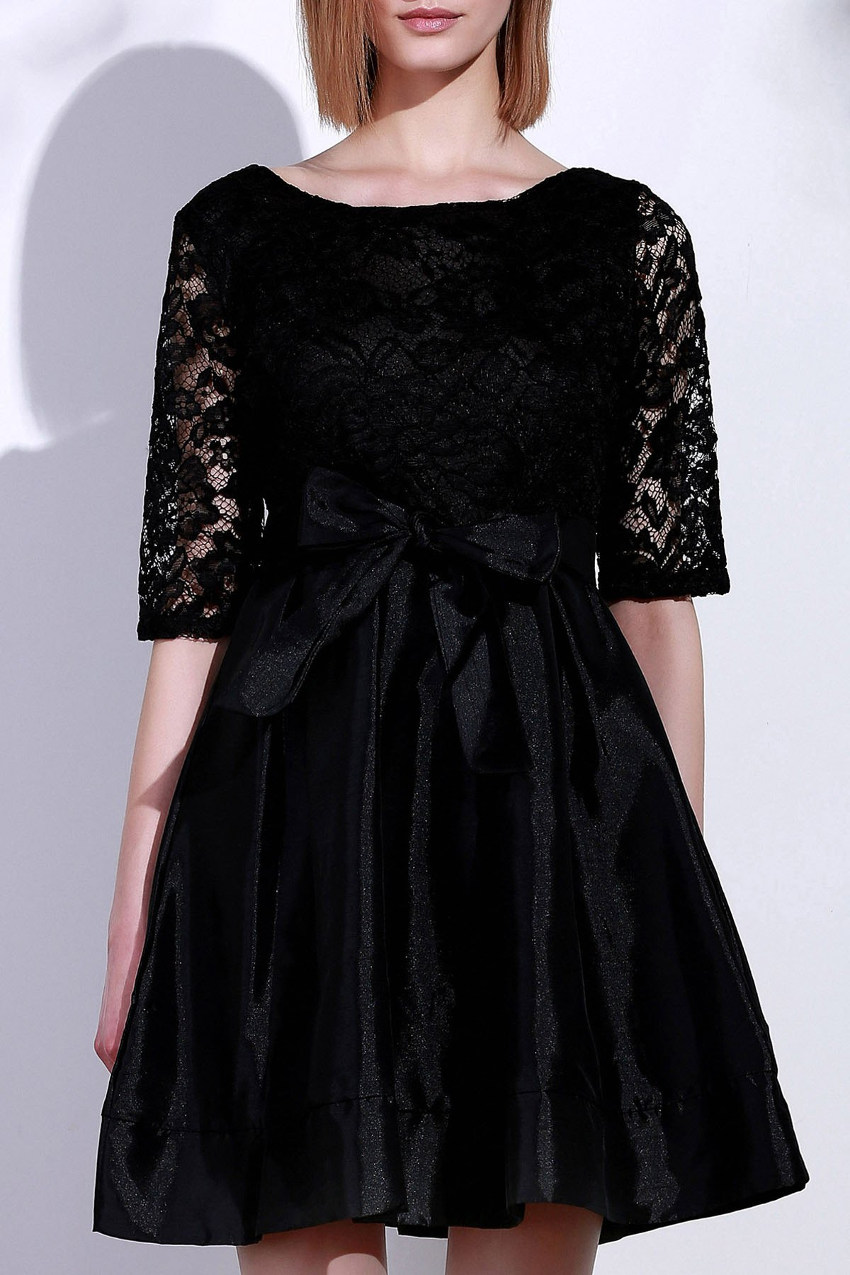 Chic Elegant Round Neck Half Sleeve Hollow Out Bowknot Embellished Women's Dress