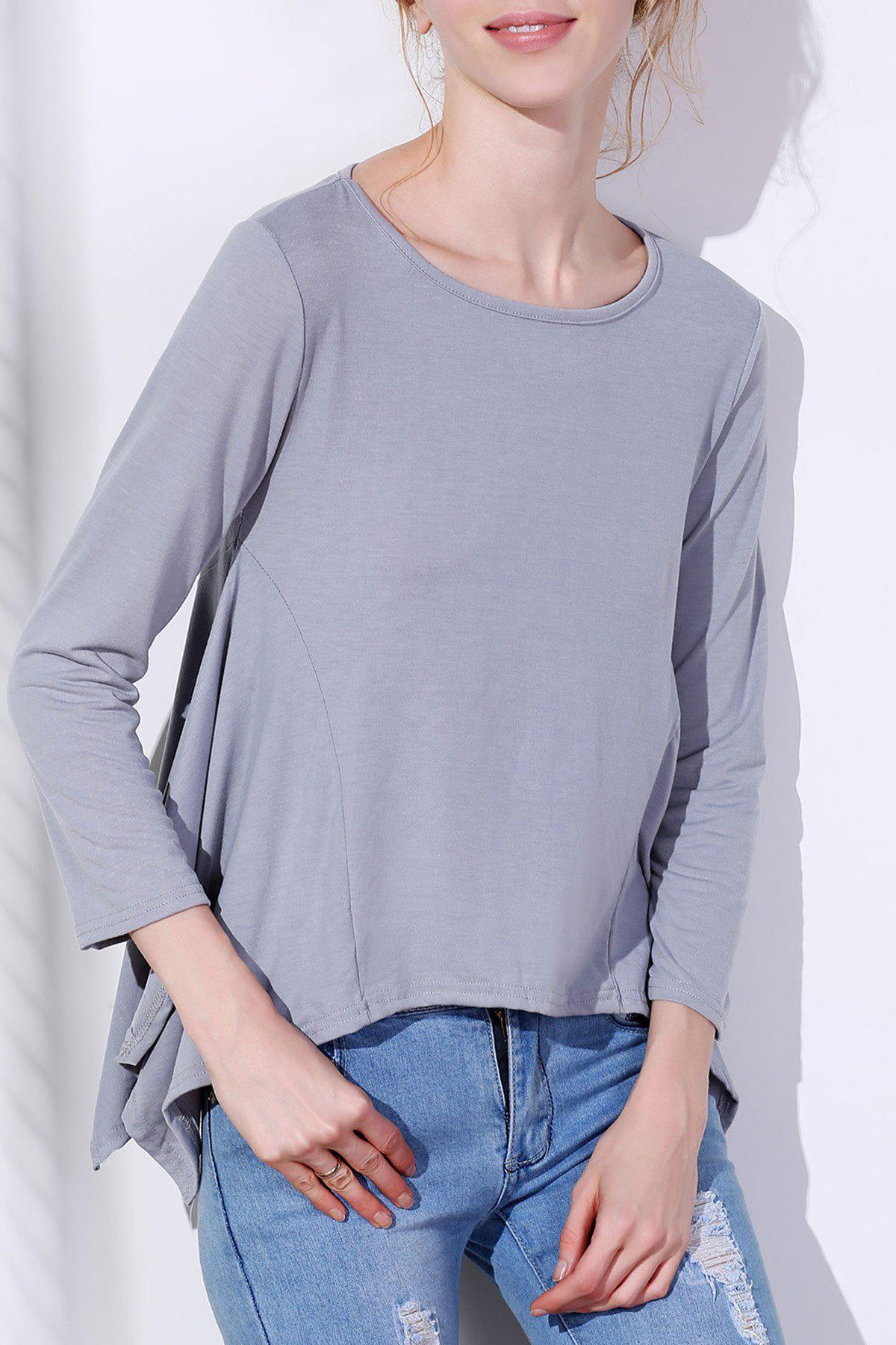 Store Fashionable Scoop Neck Solid Color Asymmetric T-Shirt For Women