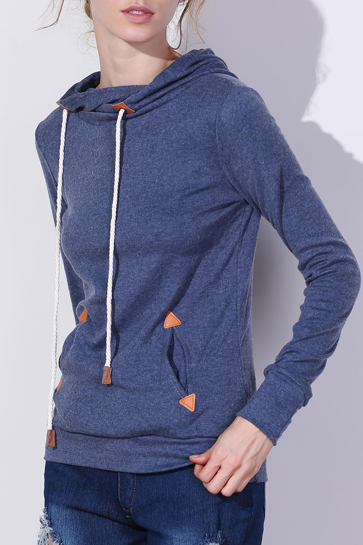 Stylish Hooded Long Sleeve Draped Spliced Womens HoodieWOMEN<br><br>Size: M; Color: BLUE; Material: Polyester; Shirt Length: Regular; Sleeve Length: Full; Style: Fashion; Pattern Style: Patchwork; Weight: 0.365kg; Package Contents: 1 x Hoodie;