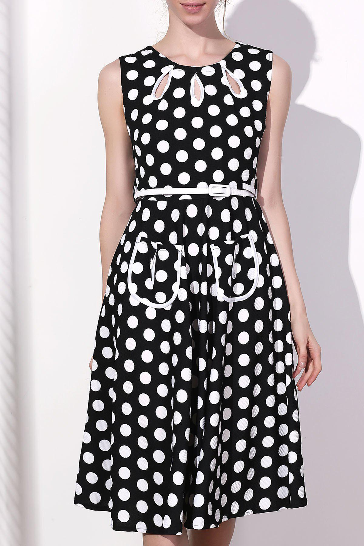 Fancy Vintage Round Collar Polka Dot Print Sleeveless Dress For Women