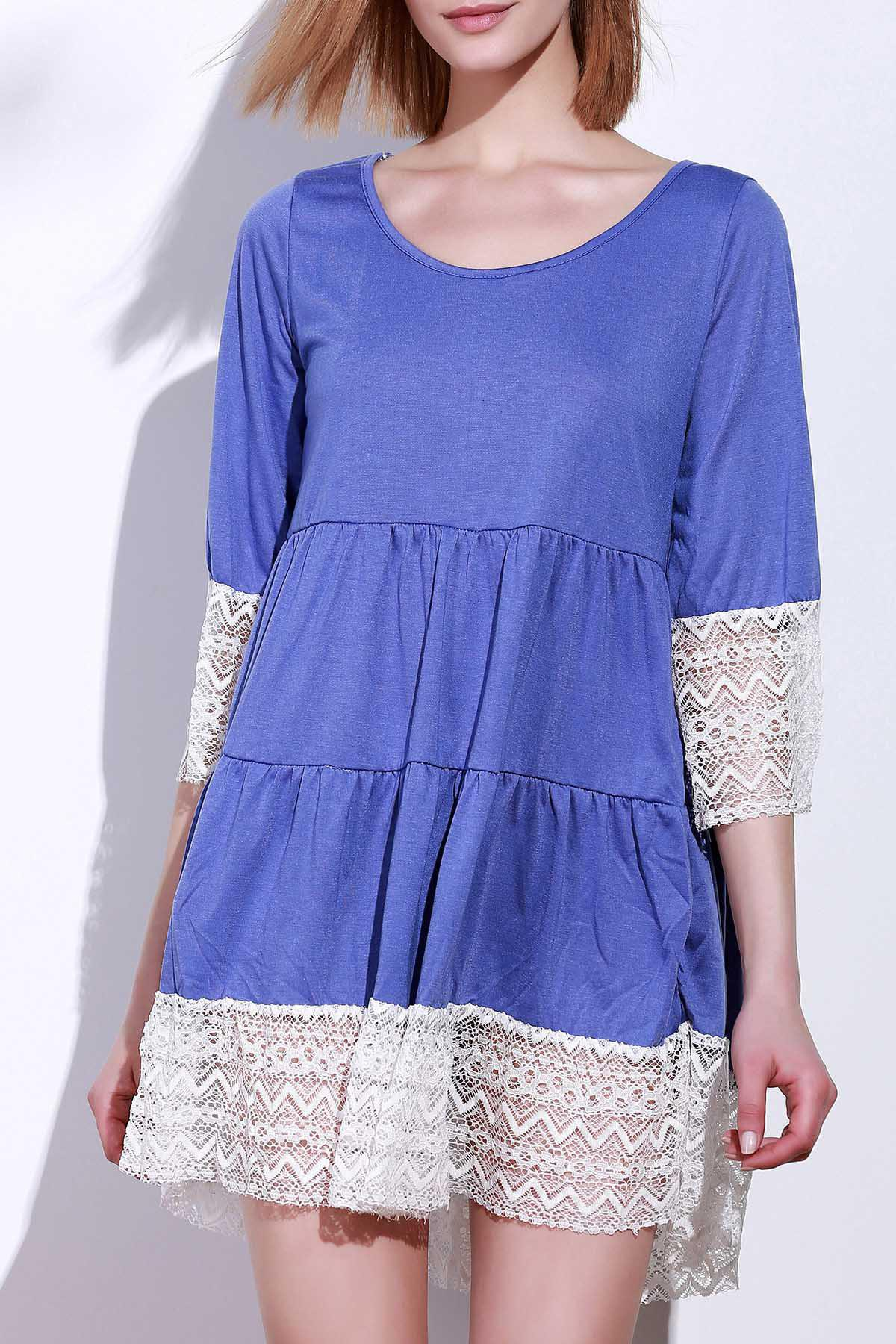 Fashion Casual Lace Splicing Loose-Fitting A Line Dress