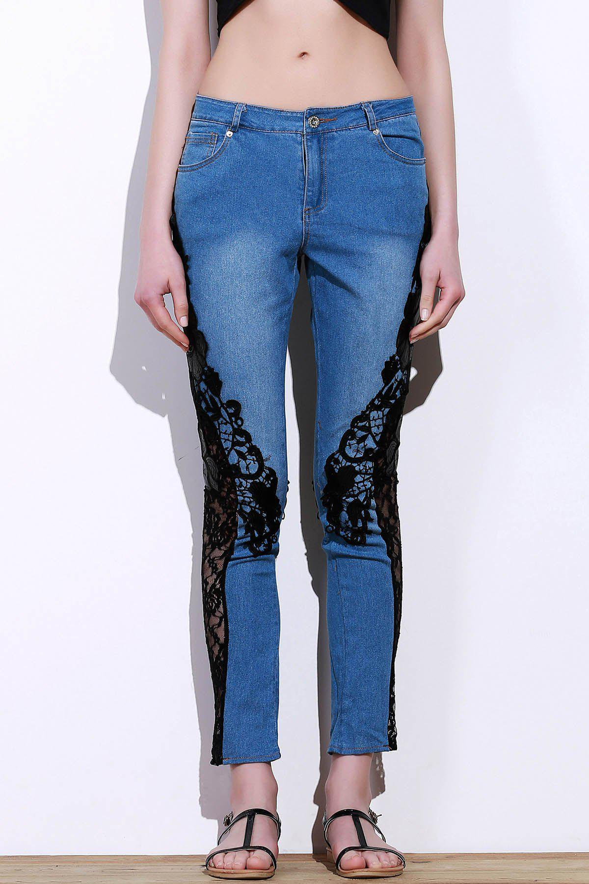 Discount Stylish Mid-Waisted Lace Embellished See-Through Women's Jeans