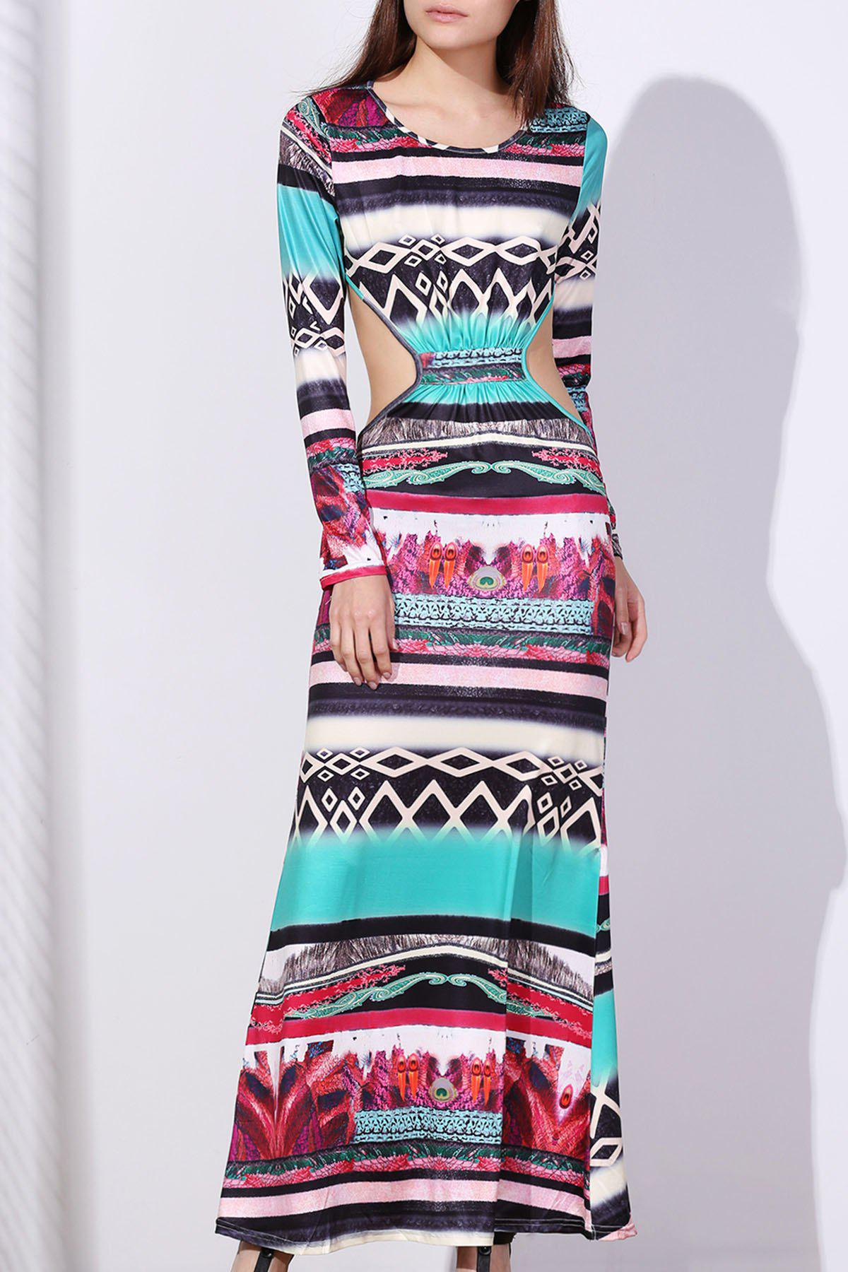 Fashion Maxi Back Cut Out Printed Long Sleeve Prom Dress