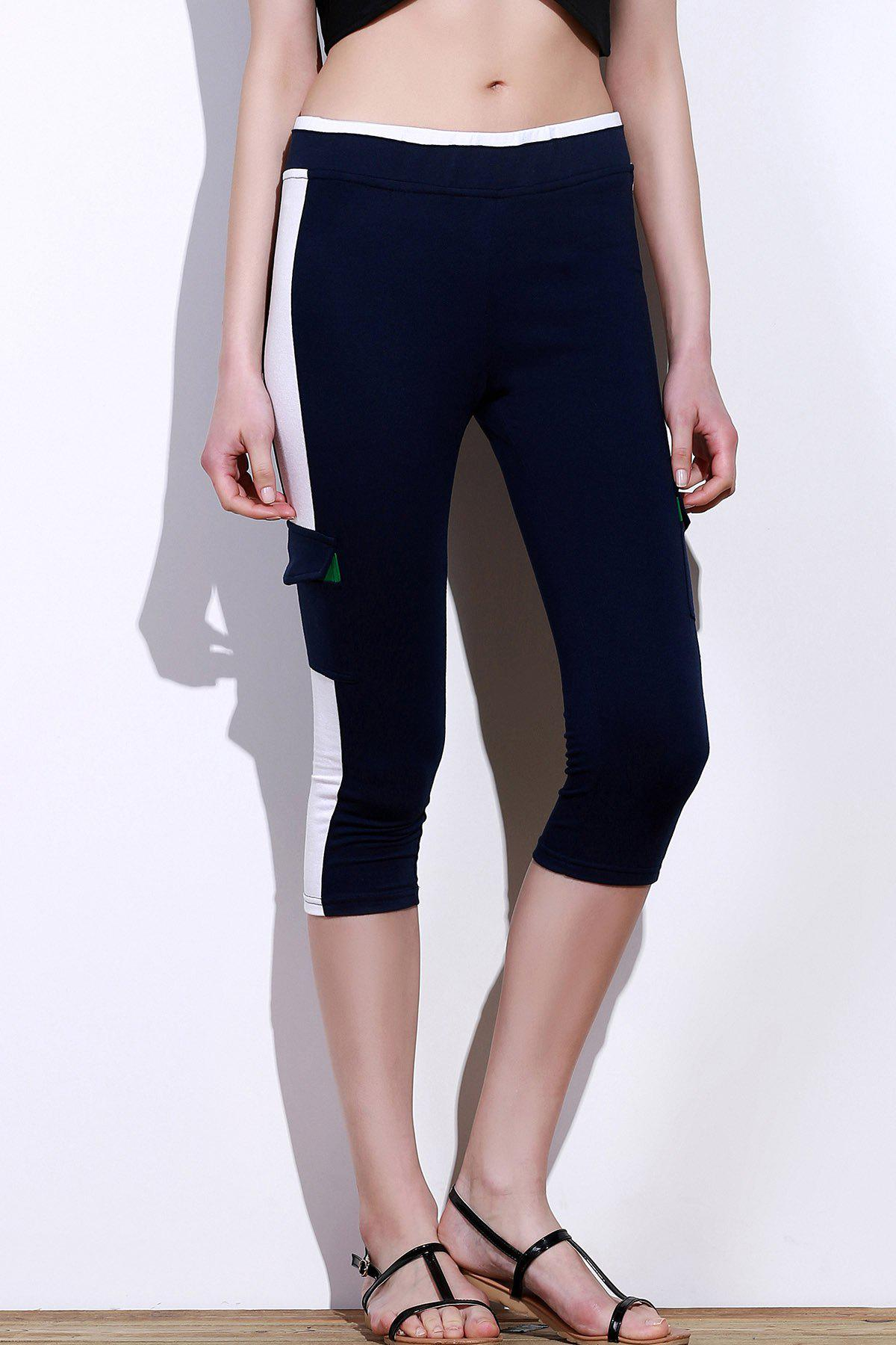 Cheap Color Block Gym Running Capris