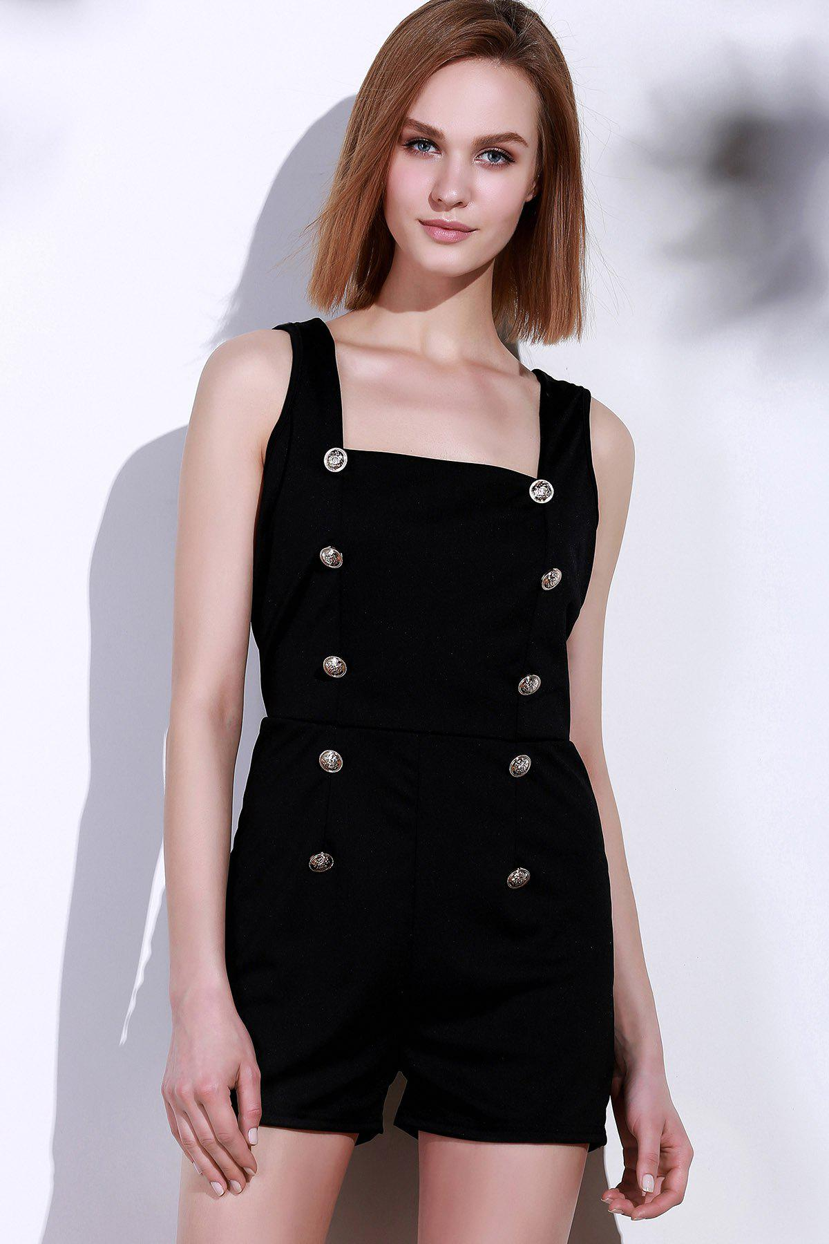 ef95f68c7bc Hot Sexy Square Neck Solid Color Button Embellished Sleeveless Romper For  Women