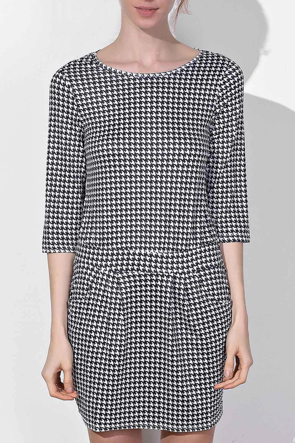 Trendy Chic Round Collar Houndstooth Printed 3/4 Sleeve Dress For Women