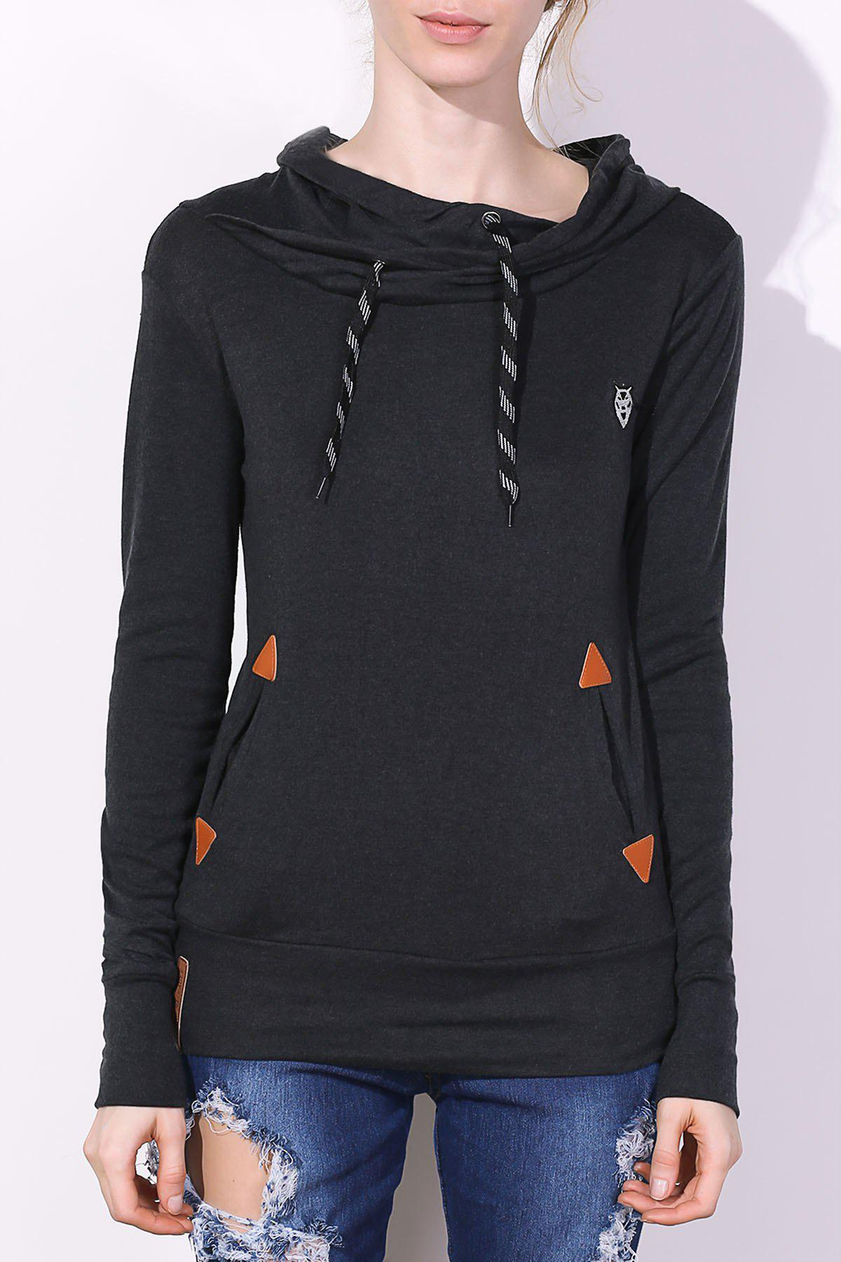 Drawstring Pocket Design Embroidered HoodieWOMEN<br><br>Size: S; Color: BLACK; Material: Polyester; Shirt Length: Long; Sleeve Length: Full; Style: Fashion; Pattern Style: Patchwork; Weight: 0.420kg; Package Contents: 1 x Hoodie;