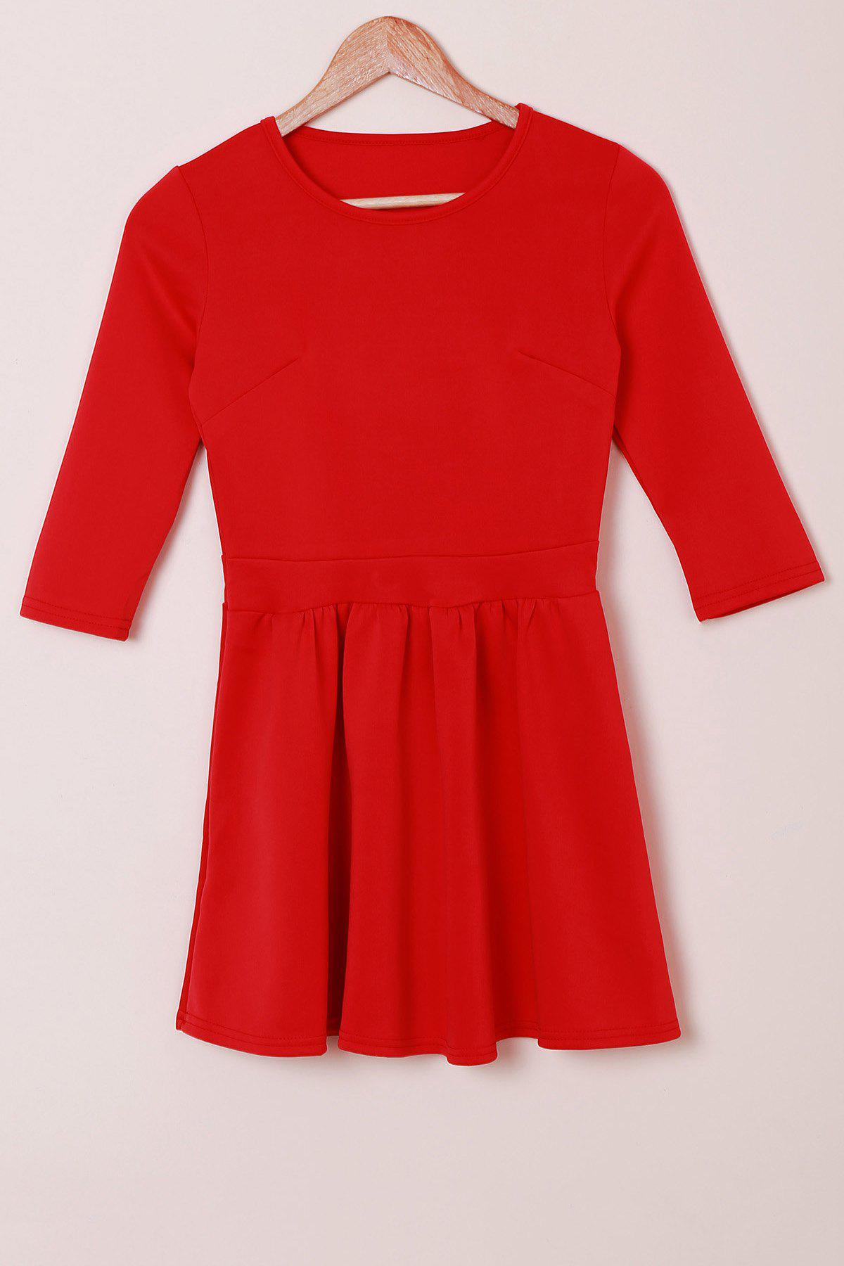 Discount Sweet Jewel Neck 3/4 Sleeve Solid Color High Waist Pleated Mini Dress For Women