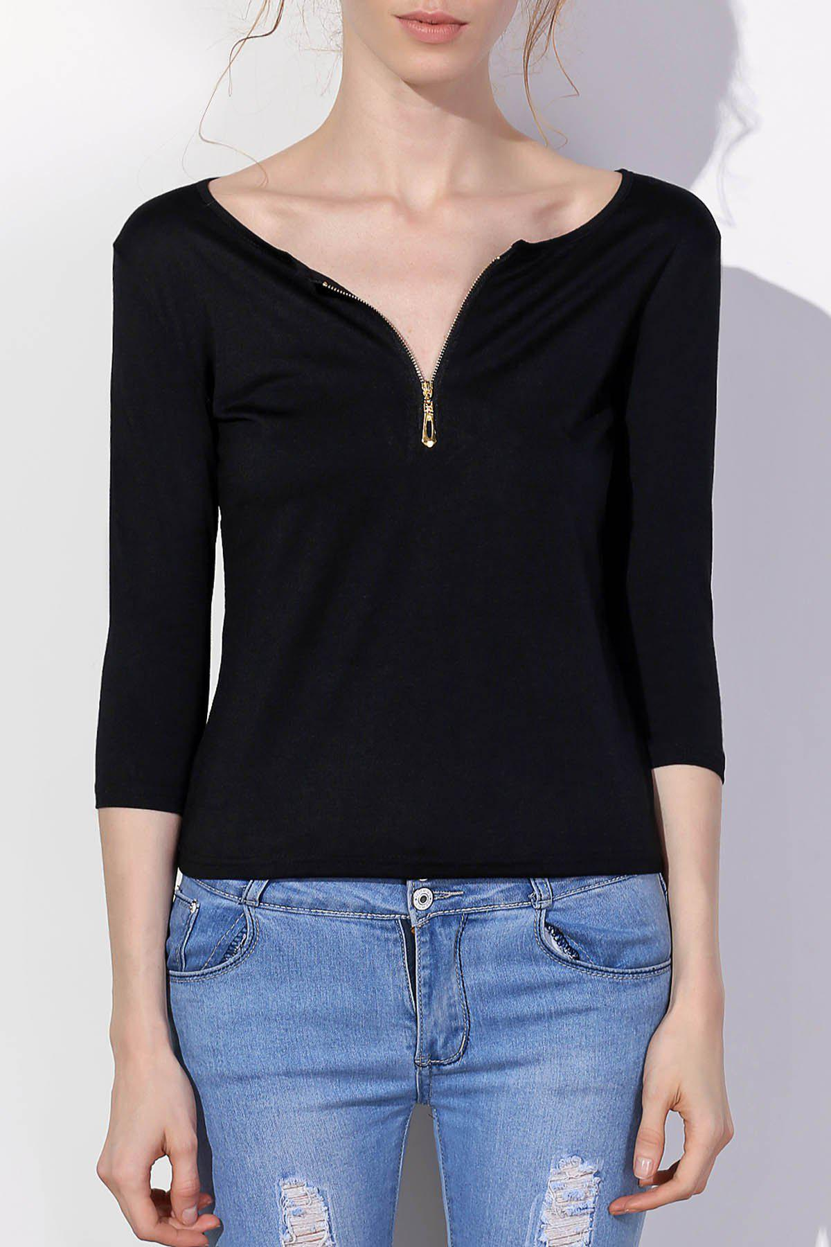 Chic Sexy Low-Cut Solid Color Zippered 3/4 Sleeve T-Shirt For Women