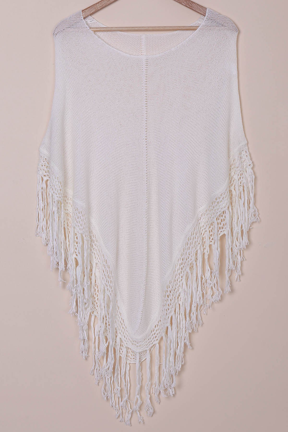 Stylish Scoop Neck Tassels Cape Women's Cover-Up ONE SIZE(FIT SIZE XS TO M)