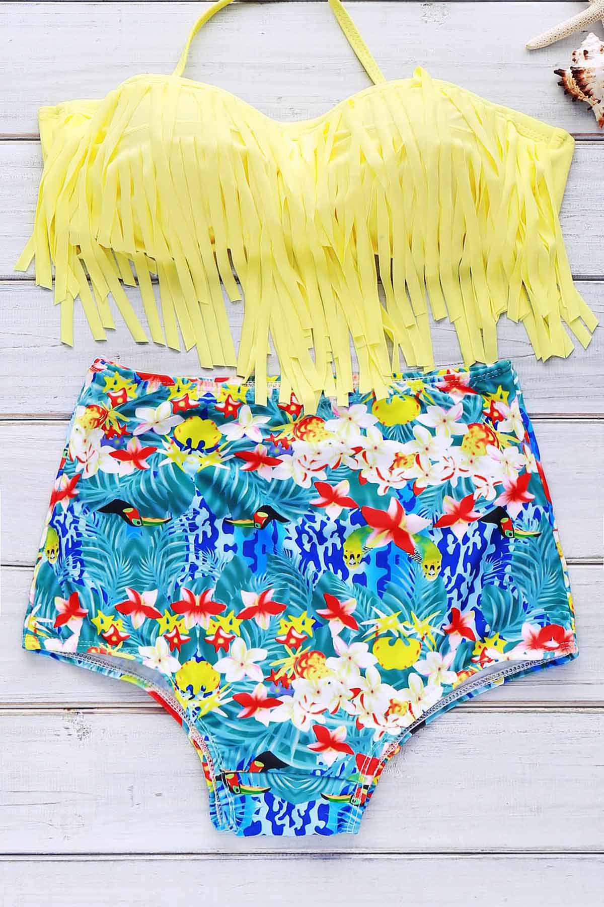 Unique Halter Print High Waist Bikini Set With Fringe Top