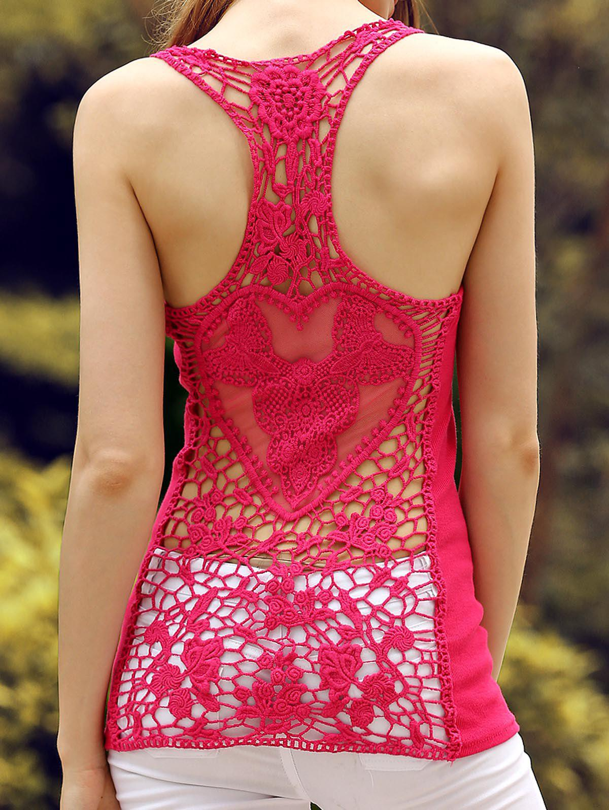 Store Sheer Lace Racerback Tank Top