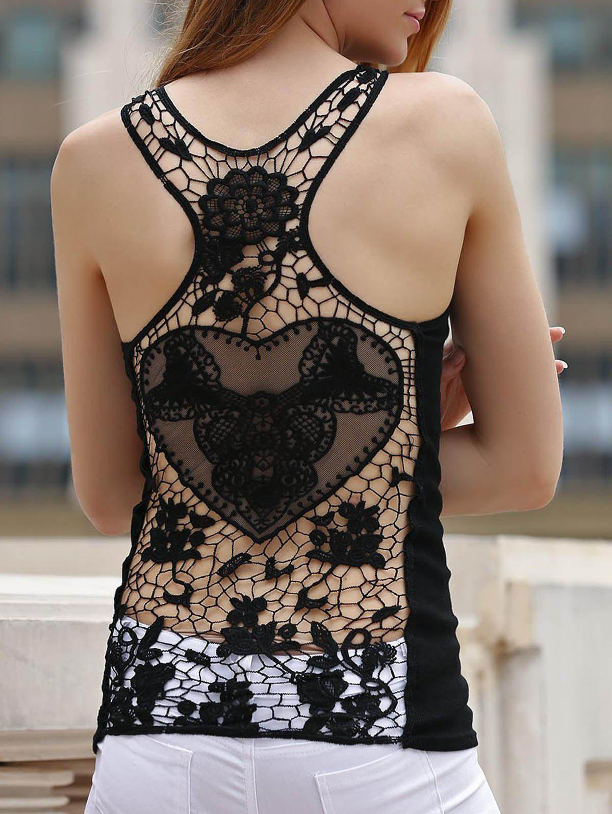 Fancy Sheer Lace Racerback Tank Top