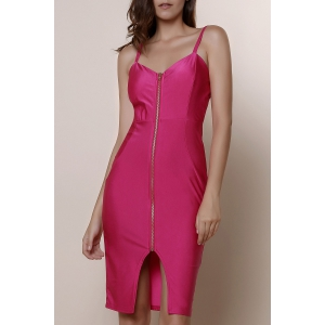 Spaghetti Strap Zip Up Bodycon Midi Cocktail Dress