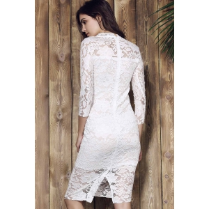 Women's Stylish Lace Cut Out Over Hip 3/4 Sleeve Pure Color Dress -