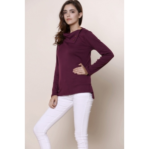 Casual Buttoned Cowl Neck Solid Color Long Sleeve T-Shirt For Women -