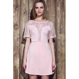Stylish Scoop Neck Lace Spliced Plus Size Short Sleeve Dress For Women - PINK 2XL