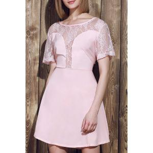 Stylish Scoop Neck Lace Spliced Plus Size Short Sleeve Dress For Women - Pink - 3xl