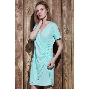 Sexy Plunging Neck Short Sleeve Solid Color Plus Size Women's Wrap Dress -