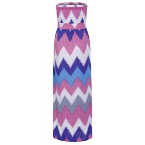 Strapless Bandeau Maxi Colorful Zig Zag Summer Dress - ROSE M