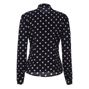 Vintage Stand Collar Polka Dot Ruffled Long Sleeve Shirt For Women -